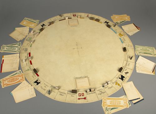 Charles Darrow Hand-Made, Round Monopoly Set, 1933. The game is part of The Strong's permanent collections.