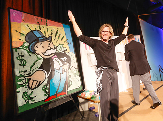 Artist Eric Waugh unveiling the finished painting, Courtesy of The Strong, Rochester New York