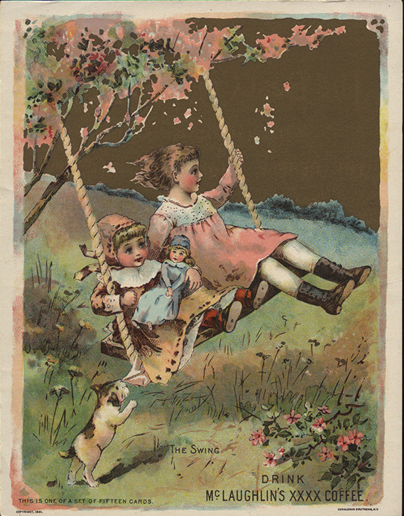 A 19th-century trade card suggests the innocence and nostalgia of the swing. The Strong, Rochester, New York.