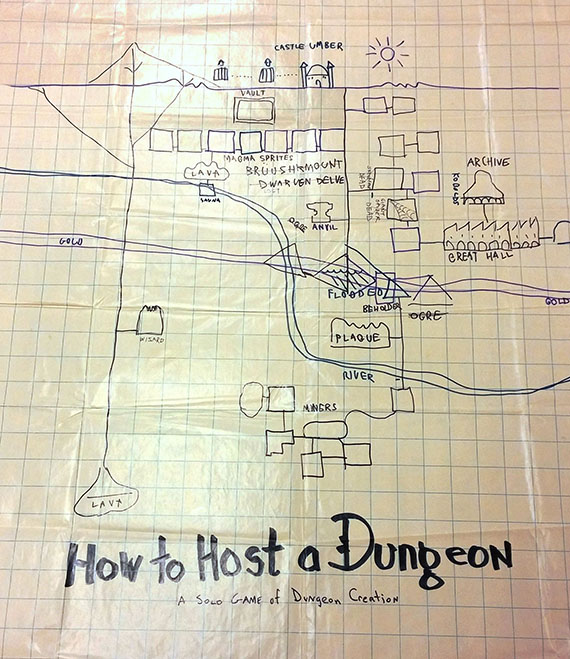 """How to Host a Dungeon"""" hand-drawn map, Courtesy of The Strong, Rochester, New York."""