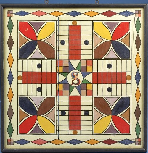 Antique-Painted-Parcheesi-Gameboard-10-sold-by-Northeast-Auctions