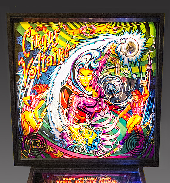 Cirqus Voltaire pinball backglass, 1997, Courtesy of The Strong, Rochester, New York