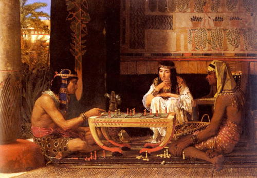 1865 Egyptian Chess Players oil on wood 39.8 x 55.8 cm