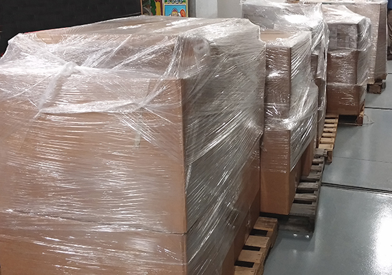 Unprocessed Atari material on pallets, June 2014, The Strong, Rochester, New York