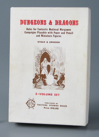 "Original ""white box"" D&D game. About 1973. Complete with three different adventure modules and reference sheets. Dice were available separately. The Strong, Rochester, New York."