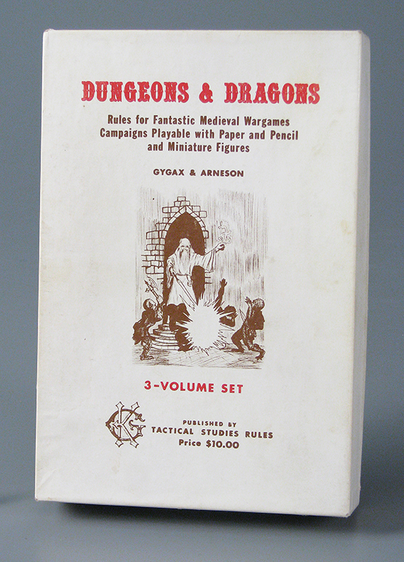 """Original """"white box"""" D&D game. About 1973. Complete with three different adventure modules and reference sheets. Dice were available separately. The Strong, Rochester, New York."""