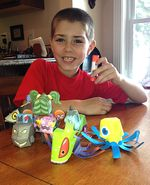Dylan with his monster pals, courtesy of Pam and Dylan Dulong.