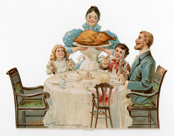 Assembled paper toy, The Thanksgiving Dinner, 1895, published by The Boston Sunday Globe, courtesy of The Strong, Rochester, New York.