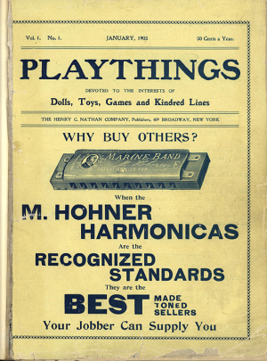 The cover of the first issue of Playthings magazine  January 1903  The Strong  Rochester  New York