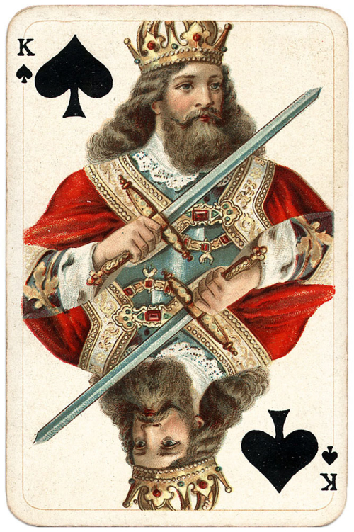King-of-spades-vintage-playing-card-Salonkarte-Buttner