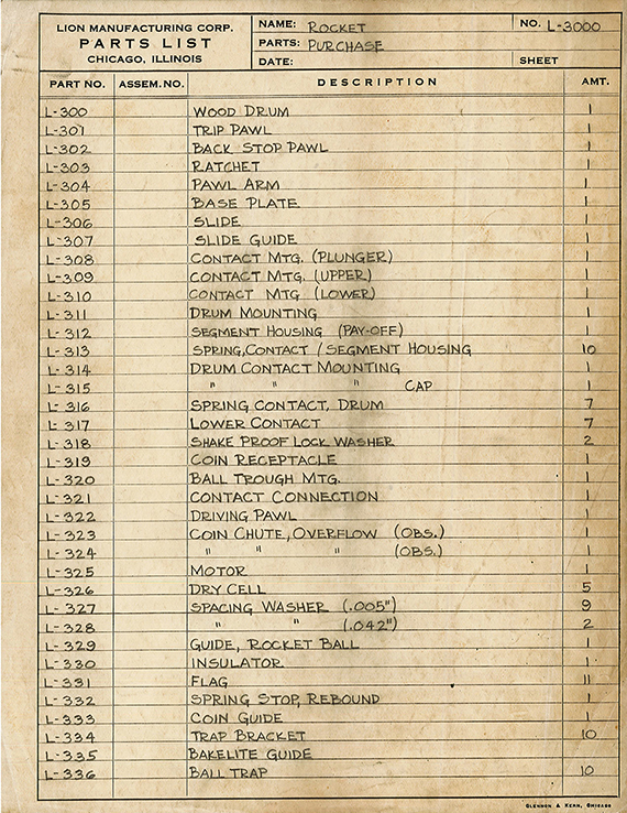 Parts list for Rocket  Bally  1933. From Box 1  Folder 2  Bally-Midway-Williams records  1933–2000. The Strong  Rochester  New York.