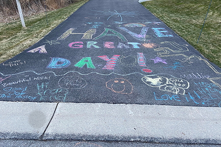 Driveway chalk drawings and messages  2020. Courtesy of the author.