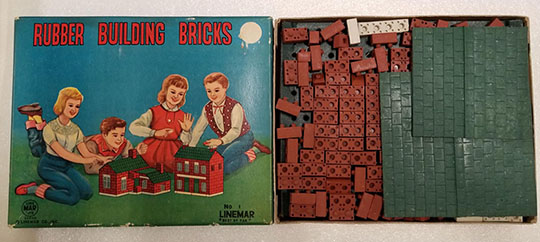 Rubber Building Bricks construction set  Linemar Toys  Japan  1950s. The Strong  Rochester  New York.