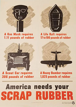 """Poster """"America Needs Your Scrap Rubber."""" War Production Board  1942. The Strong  Rochester  New York."""