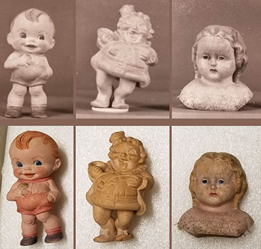 Group of rubber squeak toys and dolls from left to right dated 1957  1950  and 1881. The Strong  Rochester  New York.