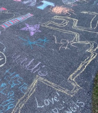 Closeup of driveway chalk maze  2020. Courtesy of the author.