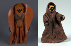 Jawa with reproduction plastic cape vs. Jawa II with fabric cloak. The Strong  Rochester  New York