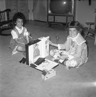 Patty and Debbie Aiello and Barbie Doll  1962